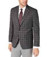 Michael Kors Mens Sport Coat Charcoal Gray Size 39 Windowpane Kelson $295 180