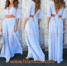 Light Blue Backless Tied Top and Long Casual Skirt M (10-12)