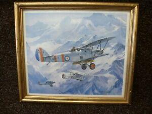 FRAMED 1979 'MICHAEL TURNER' PRINT OF A WW11 RAF 'HAWKER HART' BIPLANE BOMBER