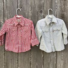 2 Levi's Western Wear Plaid Checked Shirts Snap Cowboy Cowgirl Rodeo 2T  K⭐️