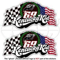 NICKY HAYDEN 69 Kentucky Kid MotoGP Racing 75mm Stickers Autocollant x2 Adesivi