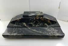 Antique Art Deco Italian Nero Portoro Marble Inkwell Desk Set Pen tray