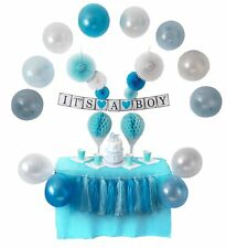 Baby Shower Decorations Boy Decor Blue Balloons Banner Blue Party Supplies Set
