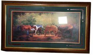 "Vintage Home Interiors Western Horses Graze J Mize 31"" x 18"" Picture Art Hanging"