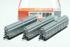 Fleischmann N NS 3x 4achs. Müllkippwagen grau 845201 NEU OVP