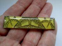 Vintage Pierre Bex Gold Lemon Geometric Enamel Silver Tone Art Deco Brooch Pin