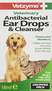 Vetzyme Antibacterial Ear Drops and Cleanser, 18 ml