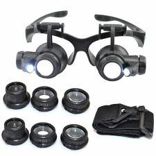 25X Magnifier Magnifying Eye Glasses Loupe Jeweler Watch Repair Kit LED Lamp UK