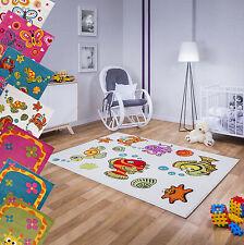 M6 Kinder Teppich Kurzflor Gemustert Pink Blau Grün Grau 80 120 140 160