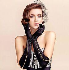 Woman Zipper Cosplay Party Opera Bridal Fancy Wedding Long Elbow Black Gloves