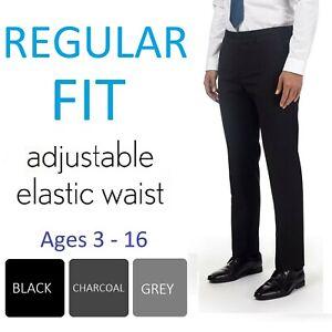 Boys School Trousers Adjustable Waist Black Charcoal Grey Navy Age 3-16