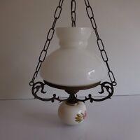 Eclairage lustre suspension cuivre faïence opaline art nouveau déco PN France