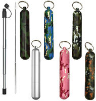 Reusable Collapsible Telescopic Straws with Key chain Case - Foldable & Portable