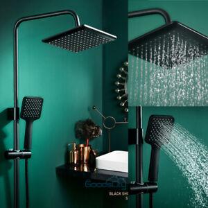 10'' Dual High Pressure Rainfall Shower Head Handheld Combo Luxury Set BLK
