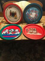 Vintage Metal Christmas Cookie Trays LOT-Of-4 VERY NICE Condition !