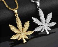 925 Silber Plattierte Halskette Collier Hanfblatt Cannabis Anhänger in 3 Farben