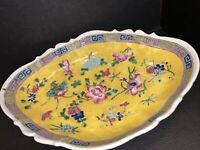 "Vintage Chinese Porcelain Bowl Famille Vert Rose Medallion 12"" Oval Sign Mark"