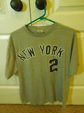 Men's New York Yankees Gray Derek Jeter #2 Tee Shirt Crew Neck Size M