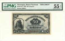 Nicaragua 50 Centavos Currency Banknote 1938 Specimen PMG 55 CHOICE AU EPQ