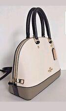 Coach mini Sierra Satchel Colorblock Leather handbag Chalk Fog & matching wallet