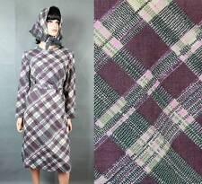 Vintage 70s Dress & Kerchief Set Sz L Purple Gray Pink Plaid Long Sleeve Costume