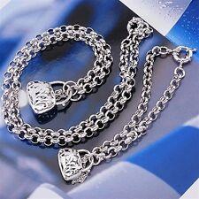 18K White Gold Filled Filigree Padlock Necklace/Bracelet Set (S-113)