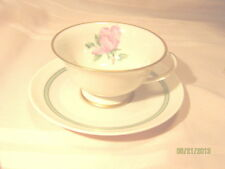 Franciscan China Cherokee Rose Footed Cup/Saucer Green Band California Trim Gold