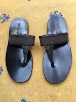 Prada Mens Sandals Flip Flop Black Leather Canvas Croc Shoes UK 7 US 8 EU 41