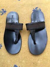 Prada Sandalias flip flop para hombre Negro de Cuero de Lona calzado de cocodrilo UK 7 nos 8 EU 41