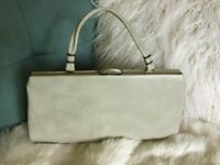 Vtg/Retro/MCM/Rockabilly 1960's Spilene Pearl-Ivory Faux Leather Handbag/Purse