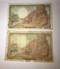 Two 1944 20 Vingt Francs Banknotes