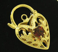 K041 Genuine 9K Yellow, Rose or White Gold Natural Garnet Heart PADLOCK Clasp