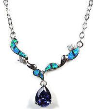 3.0 ct Tanzanite & Blue Fire Opal Genuine 925 Sterling Silver Necklace 18 - 20''