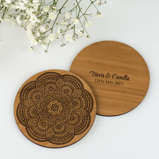 Personalised Engraved Wooden Coaster Wedding Engagement Favour or Guest Gift