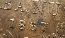Romania Heaton London 1867  Banu . Double Date-Double Die Obverse. Uncirculated