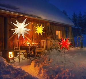 3D Leuchtstern Weihnachtsstern beleuchtet Innen Außen Advent Stern Deko Garten