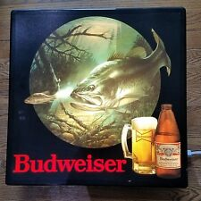 VINTAGE BUDWEISER BUD BEER BASS MOTION BAR LIGHT HUNTING SIGN LED UPGRADED