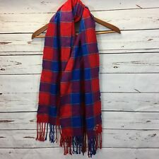Hollister Blue and Red Plaid Soft Winter Scarf