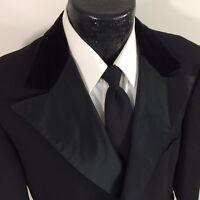 Vtg 50's LORD WEST Black TUX Sport Coat VELVET PEAK Lapel Tuxedo Wool Jacket 42