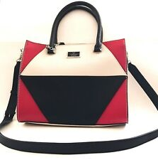NEW GUESS BOOKS BLACK+OFF WHITE+RED SAFFIANO FAUX LEATHER,SATCHEL,CROSSBODY,BAG