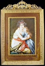 Mother Holding Young Girl Miniature Oil Painting on Vellum Gilt Frame Antique