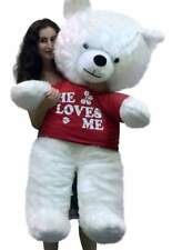 American Made Giant White Teddy Bear New 54 inch Soft Wears T-shirt HE LOVES ME