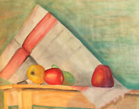 VINTAGE WATERCOLOR PAINTING STILL LIFE WITH FRUITS