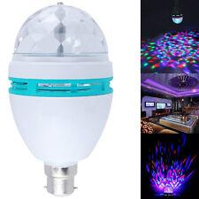 B22 3W RGB Crystal Ball Rotating LED Stage Light Bulbs Disco Lamp Multi-Color