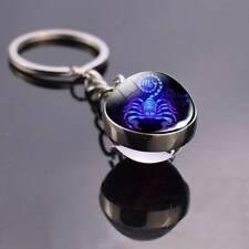 12-Zodiac Sign Key chains Ball Crystal Key tag Rings Scorpio Leo Aries key tags@