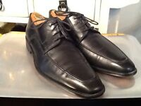 JOHN W NORDSTROM Mens Shoes Black Leather Oxfords Size 8.5 M Made in Italy