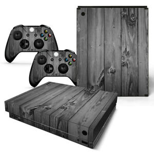Xbox One X Skin Design Foils Sticker Screen Protector Set - Gray Wood Motif