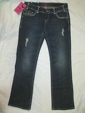 ROCK AND ROLL COWGIRL Low Boot Cut Distressed Embellished Jeans Women's 30 X 34