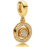 Genuine PANDORA Spinning Hearts Hanging Charm 14K Gold Vermeil 797430CZ