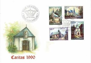 LUXEMBOURG 1990 NATIONAL WELFARE FUND RESTORED CHAPELS SET OF 4 FIRST DAY COVER
